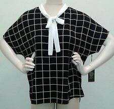 nwt Womens L Vince Camuto Simple windowpanes Bow Neck blouse top black wh plaid