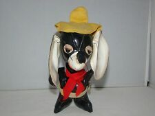 """Vintage Japan Rare Black Leather Mousse with Yellow Hat Stuffed Animal 7"""""""