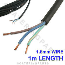 1 x METRE OF 3 CORE 1.5mm H07RNF BLACK RUBBER MAINS FLEX WIRE 3G 1.5 FOR FRYERS