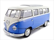 1962 VW VOLKSWAGEN MICROBUS BLUE 1/18 DIECAST MODEL CAR BY WELLY 12531