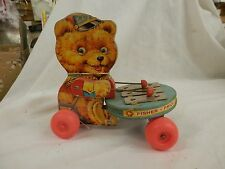 vintage Fisher Price Teddy Xylophone 1966 Teddy wood Pull Toy original large