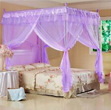 4 Poster Princess Valentine Fashion Purple Canopy Mosquito Net Bed Size For Twin