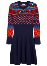 KENZO  Embellished Knitted Fit and Flare Wool Blend Womens Dress uk M