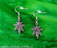 MARIJUANA POT LEAF CANNABIS WEED DANGLE CHARM SILVER EARRINGS~925 STERLING HOOK