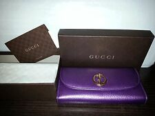 NIB Gucci Vintage Metal Logo Purple Eggplant Leather Limited Edition Wallet New