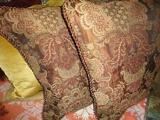 CHRIS MADDEN (PAIR) CORDED KING PILLOW SHAMS GOLD UMBER RED PAISLEY 20 X 36
