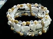 Women's Fashion Bracelet-Stretch Beaded w/Gold/White/Pearls/Clear Beads