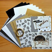 BLACK WHITE & GOLD DESIGNER CARD & PAPER PACK DIY CARDMAKING 20 SHTS A5