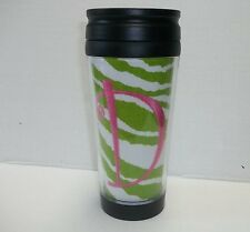 Personalized Travel Tumbler Green White Zebra Stripe Pink Embroidered  Initial D