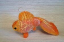 NEEDLE FELTED GOLD FISH CHRISTMAS ORNAMENT GOOD LUCK MAGIC ART WOOL NEW