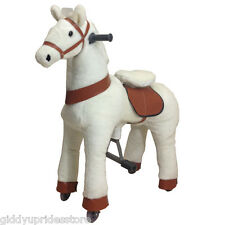 WHITE Ride-on Giddy Up Horse / Pony Rides. For boys & girls 4-10 yrs (02D)