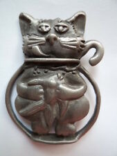 Vintage Signed AJC Silver pewter Cat Stuck in Fishbowl Brooch/Pin