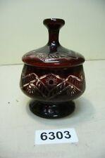 6303. Alter Böhmische Glas Dose Schale mit Deckel