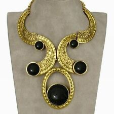 Flossy Vintage Bubble Carved Tribal Bib Collar Statement Pendant Necklace