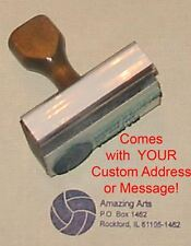 Volleyball Rubber Stamp With Custom Address or Message