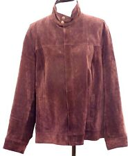 JONES NEW YORK Chocloate Brown Real Suede Leather Jacket Plus Size 3X 20W