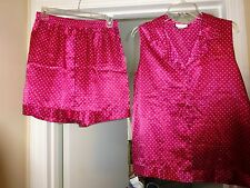 PREVIEW COLLECTION LINGERIE PJ's Size Large Maroon w/white dots polyester