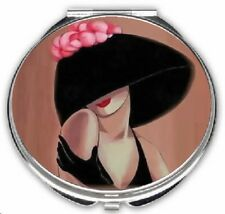 Lady with Black Hat Art Deco Compact Mirror dual sided magnifying mirror w pouch