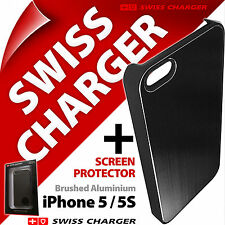 NEW SWISS CHARGER COVER in alluminio spazzolato clip-on shell Cover Per iPhone 5 5s se