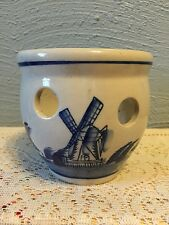 DELFT look blue Holland, PLANTER, bulb pot w/holes, white, windmill house boat