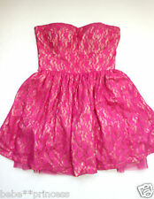 NWT bebe strapless hot pink beige lace flare party top bustier dress S M 6 sexy