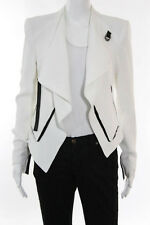 Helmut Lang White Silk Tie Closure Long Sleeve Crew Neck Shell Size 2
