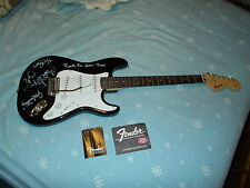Black Fender Squire Stratocaster Electric Guitar Autographed in 2001