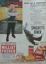 PUBLICITE PATES MILLIAT FRERES SPAGUETTI DINER GONDOLE VENISE DE 1960 FRENCH AD
