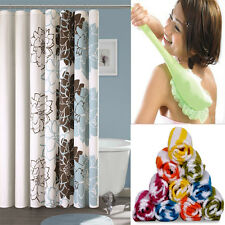 Combo - Shower Curtain + Long Handled Bath Brush + 6 Face Towel