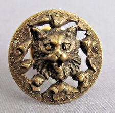 3D ANTIQUE VICTORIAN VINTAGE ROUND BRASS SCARY SPOOKY CAT FELINE PIN BROOCH