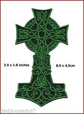 Green Celtic Cross Kelts Vikings Thor Religious Gaelic Irish Crucifix Patch