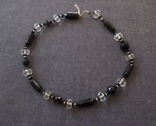 ANTIQUE 1920'S ART DECO FACETED CLEAR & BLACK LOOSE BEADS FOR JEWELRY MAKING