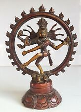 Rare Large 5.5'' Brass Natraj Double Ring Dancing Shiva Indian God