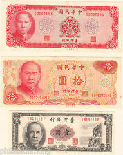 3 DIFFERENT CURRENCY OF CHINA TAIWAN (CONDITION - VF/XF) Foxing on Some Notes