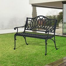 Outsunny Garden Bench Long Chair Park Seat Antique Furniture Outdoor Patio Black