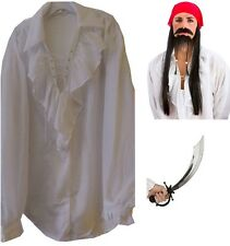 Mens Pirate Gothic Medieval Musketeer White Shirt, Bandanna Sword Fancy Dress M