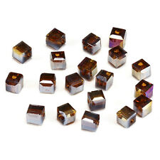 10pcs amber ab 8mm Faceted Square Cube Cut glass crystal Spacer beads.