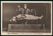 Circus Magician MISS BOROSKO & China man original old 1910s postcard