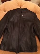 JAMES AND JOHN Womens Leather Jacket With Faux Fur Inside Size L