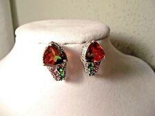 ** Brazilian Watermelon Quartz Russian Diopside Orissa Rhodolite Garnet Earrings