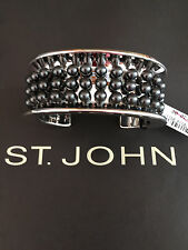 NEW ST JOHN KNIT WOMENS BRACELET DESIGNER SILVER COLOR CUFF