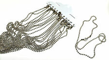 12 pcs ball chain blank necklace 2.4mm wide silver coloured 18 inch