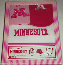 Minnesota Pink Hat Bib One Outfit Baby Girl Gift Box College NCAA Team Nike