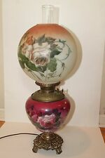 Vintage Hurricane Parlor Table Lamp - Converted