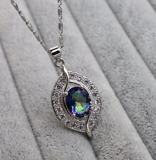 18K White Gold Filled - Blue MYSTICAL Hollow Topaz Leaf Party Pendant Necklace