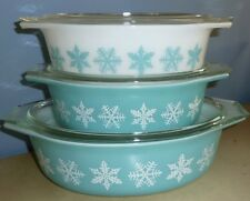 6 PIECE VTG PYREX CASSEROLE TURQUOISE BLUE SNOWFLAKE DISHES 045 043 WITH LIDS
