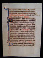 MEDIEVAL MANUSCRIPT dated c1300 A.D.Breviary illuminated Vellum Leaf Gold France