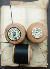 12 x 400yds Vintage 30 Gauge Black MUNTYAK Brand Cotton Sewing Thread