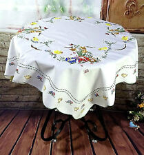 Chic Chicken Daisy Embroidery All Cutwork White Square Table Cloth