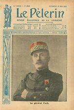 Portrait Général Ferdinand Foch maréchal de France en Képi WWI 1916 ILLUSTRATION
